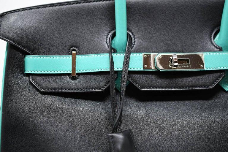 dd8a3605e3cb Hermes Birkin Bag 35cm Black Leather with Lagoon and Palladium Hardware For  Sale 3