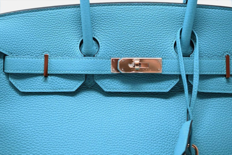 Women's Hermes Birkin Bag 35cm Turquoise Togo with Gold Hardware For Sale