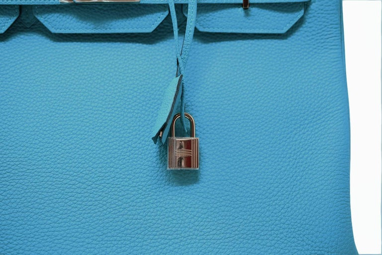 Hermes Birkin Bag 35cm Turquoise Togo with Gold Hardware For Sale 1
