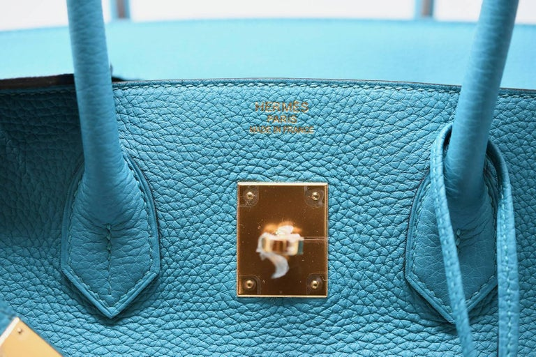 Hermes Birkin Bag 35cm Turquoise Togo with Gold Hardware For Sale 2