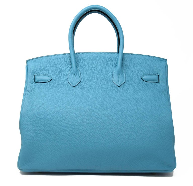 Blue Hermes Birkin Bag 35cm Turquoise Togo with Gold Hardware For Sale
