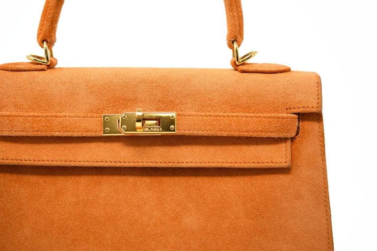 Hermes Kelly Sellier Bag 25cm Orange Suede with Gold Hardware For Sale 1