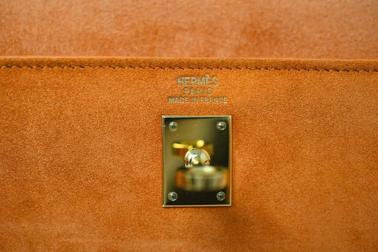 Hermes Kelly Sellier Bag 25cm Orange Suede with Gold Hardware For Sale 2