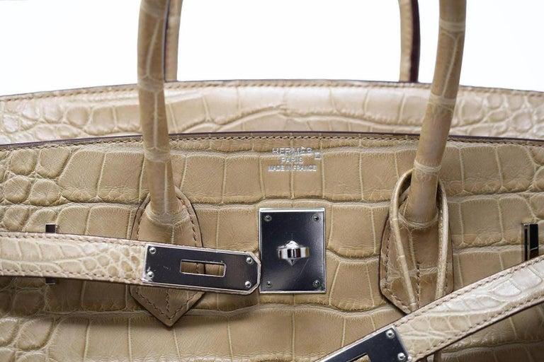 Hermes Birkin Bag 35cm Natural Alligator with Palladium Hardware For Sale 2 41b9ce128495d