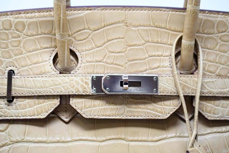 Women s Hermes Birkin Bag 35cm Natural Alligator with Palladium Hardware  For Sale 7ad0b8d2adb49