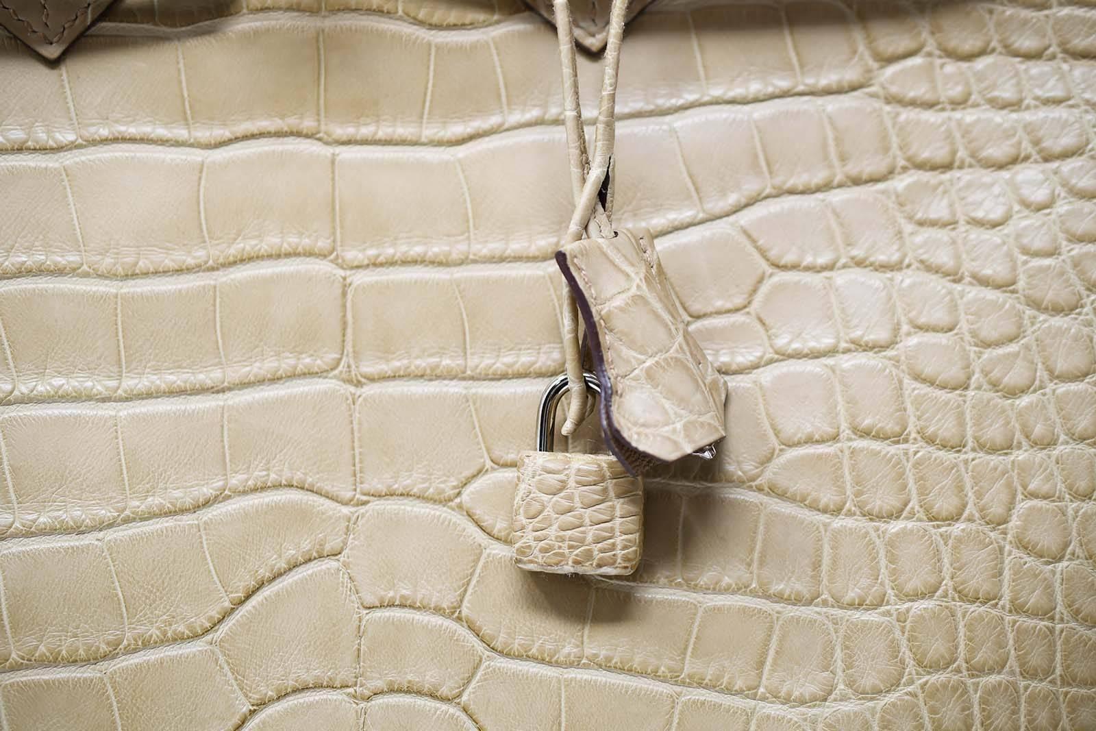 Hermes Birkin Bag 35cm Natural Alligator with Palladium Hardware For Sale  at 1stdibs 755a921c17309