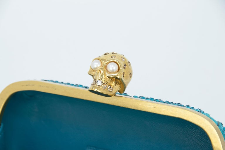 Alexander McQueen Britannia Union Jack Skull Blue Suede For Sale 2