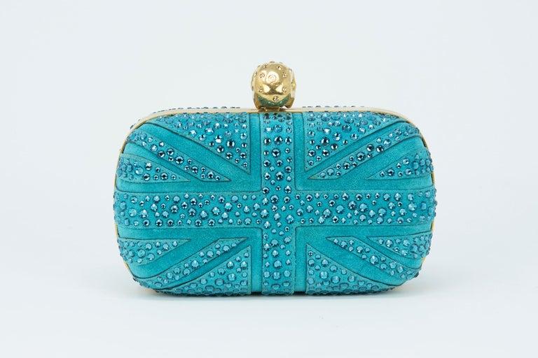 Green Alexander McQueen Britannia Union Jack Skull Blue Suede For Sale