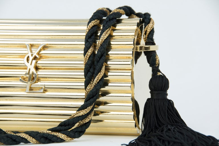 Yves Saint Laurent  Gold Minaudière Tassel Evening Bag For Sale 2