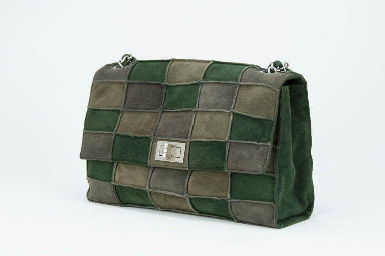 Chanel Green Patched Suede Double Flap Bag In New Condition For Sale In Newport, RI