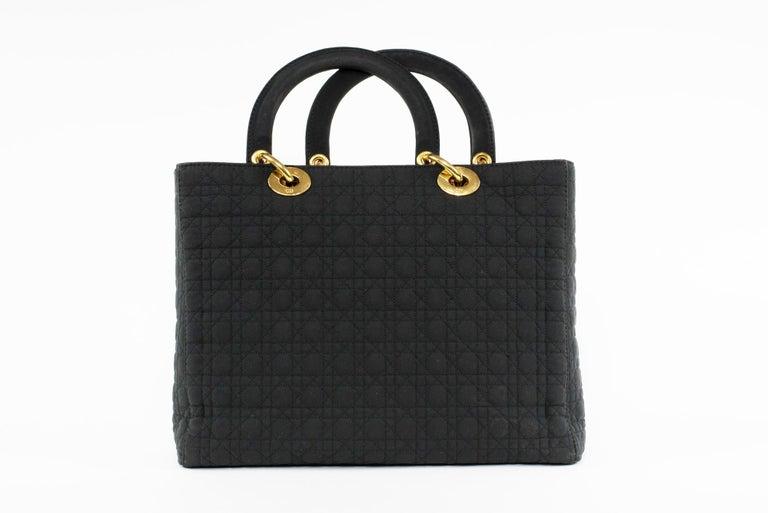 Black Lady Dior Large Cannage Nylon Bag For Sale