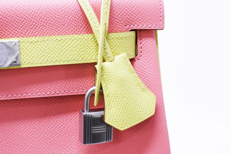 Hermes Kelly Bi-Color Jaune Poussin and Rose Confetti PHW In New Condition For Sale In Newport, RI