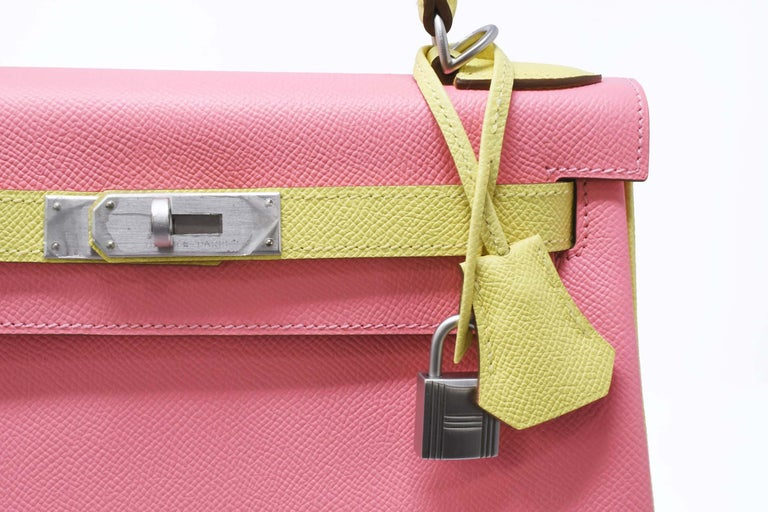 Hermes Kelly Bi-Color Jaune Poussin and Rose Confetti PHW For Sale 1