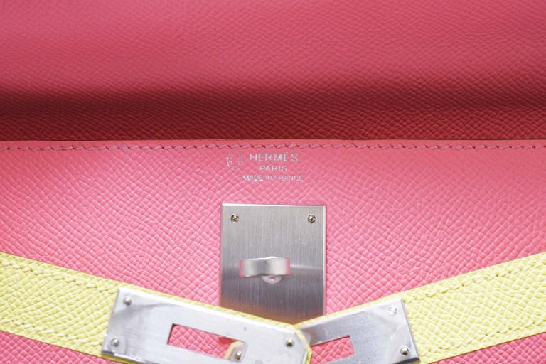 Hermes Kelly Bi-Color Jaune Poussin and Rose Confetti PHW For Sale 2