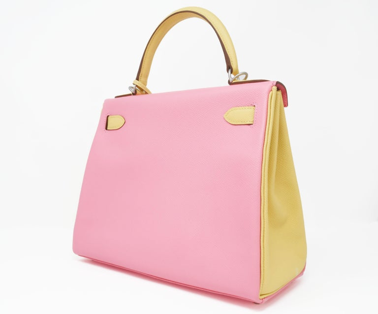 Pink  Hermes Kelly Bi-Color Jaune Poussin and Rose Confetti PHW For Sale