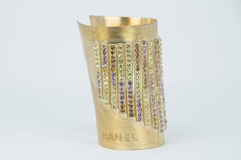 Women's Chanel Gold Cuff with Multicolored Rhinestones For Sale