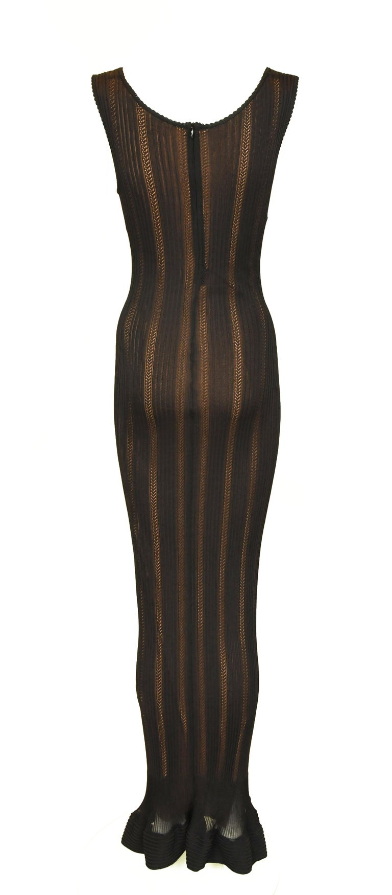 Women's Vintage Alaia Black Knit Jacquard Gown with Nude Slip - Size S For Sale