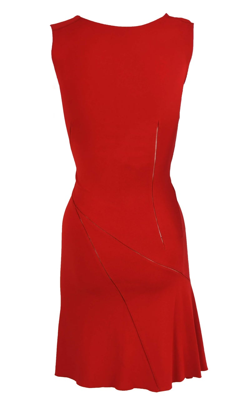 Alaia Fitted Red Cocktail Dress  For Sale 1