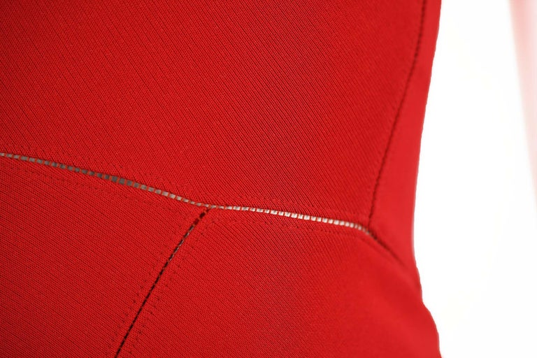 Alaia Fitted Red Cocktail Dress  For Sale 2