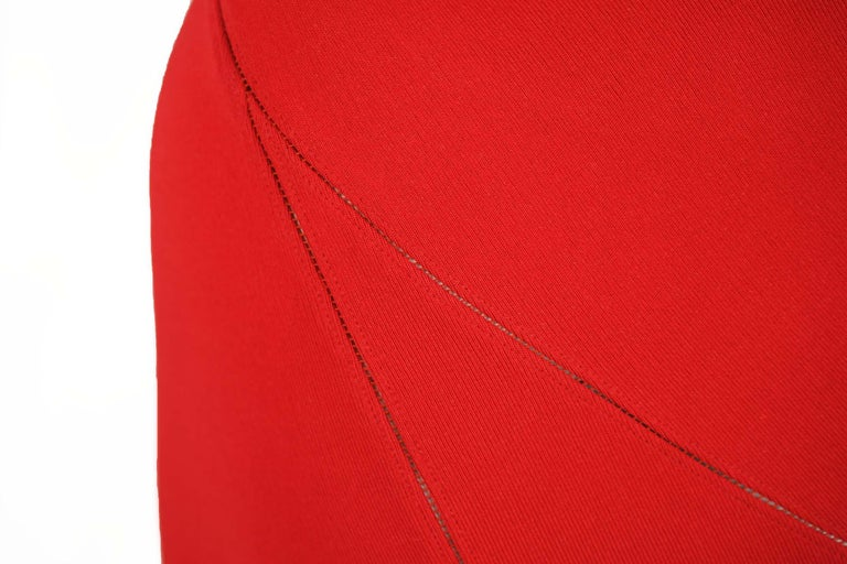 Alaia Fitted Red Cocktail Dress  For Sale 3