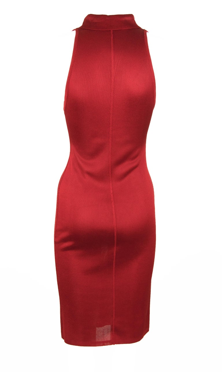 Vintage Alaia Red Dress In Excellent Condition For Sale In Newport, RI