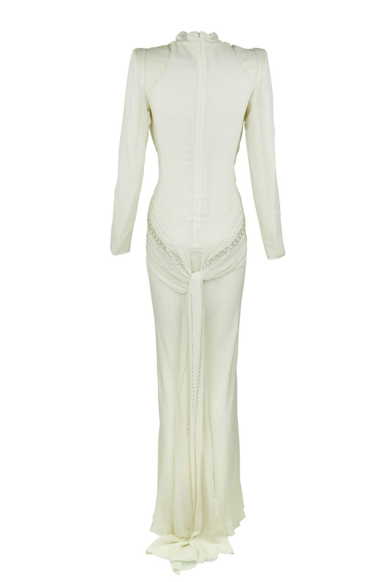 Dior Vintage White Silk Beaded Gown