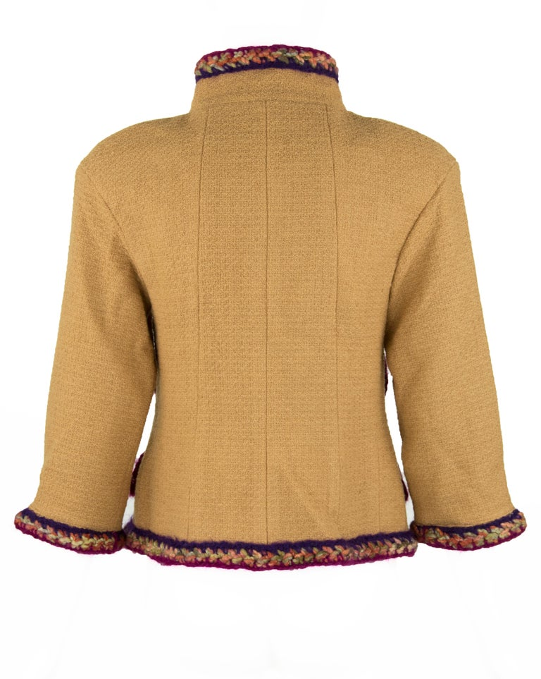 Brown Chanel Camel Blazer with Magenta Multicolor Wool Trim - Size FR 36 For Sale