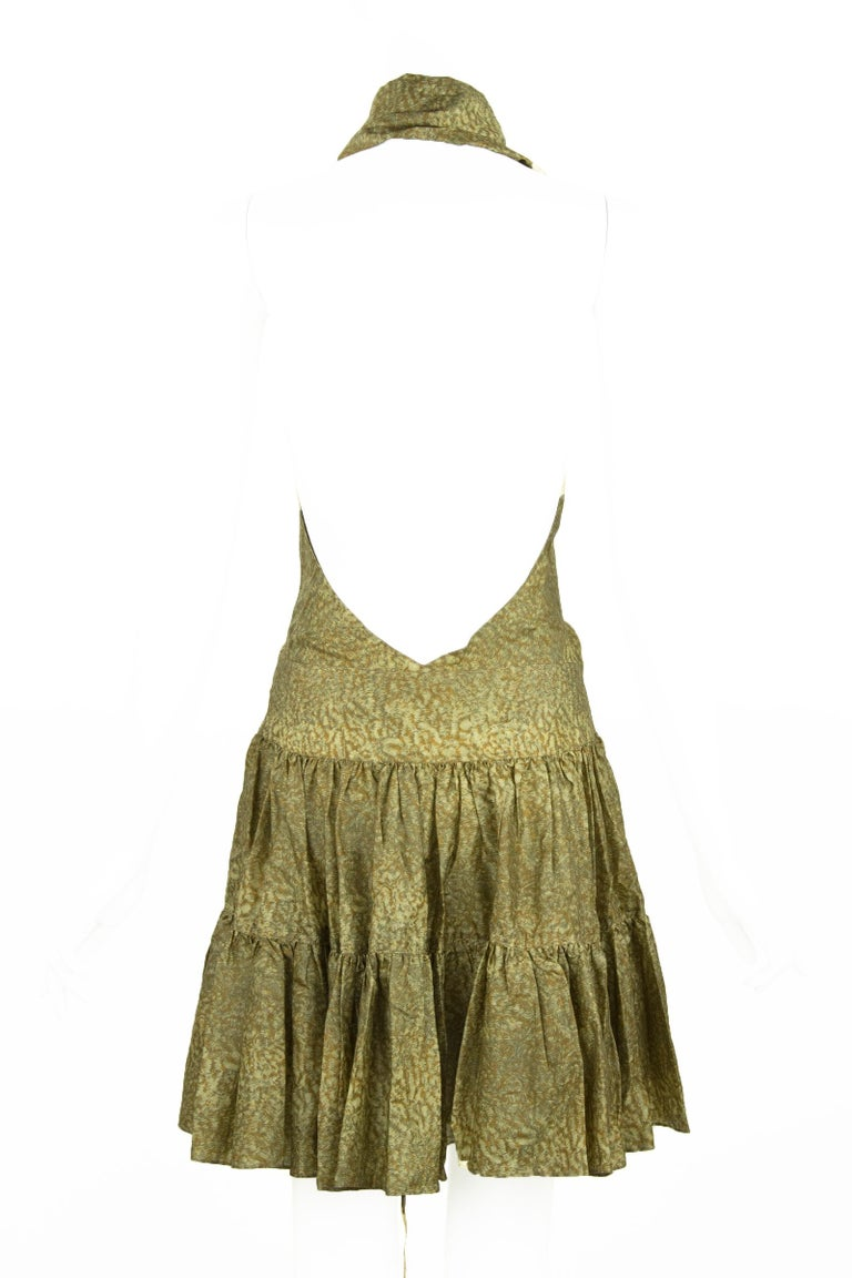 Alaia Green & Brown Printed SIlk Tiered Dress - Size FR 44 In Excellent Condition For Sale In Newport, RI