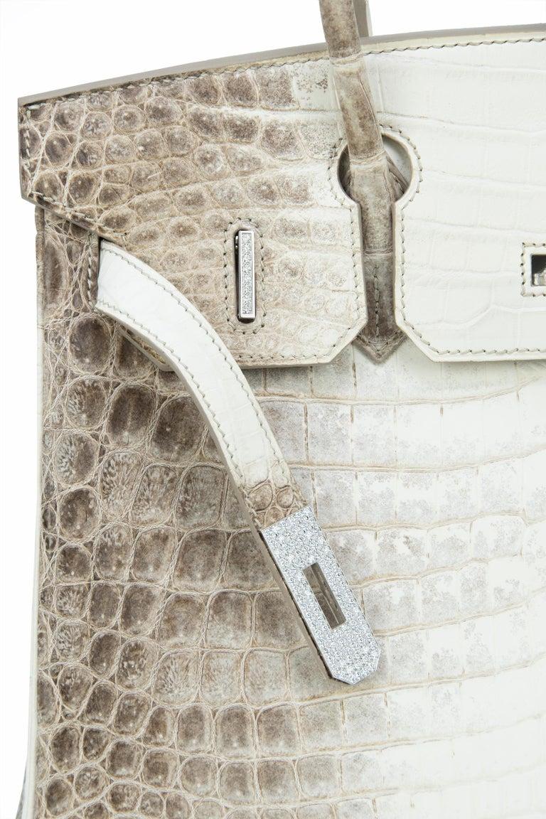 Hermès Birkin Bag 30cm Himalayan Diamond Encrusted  & Matching Kelly GM Bracelet For Sale 4