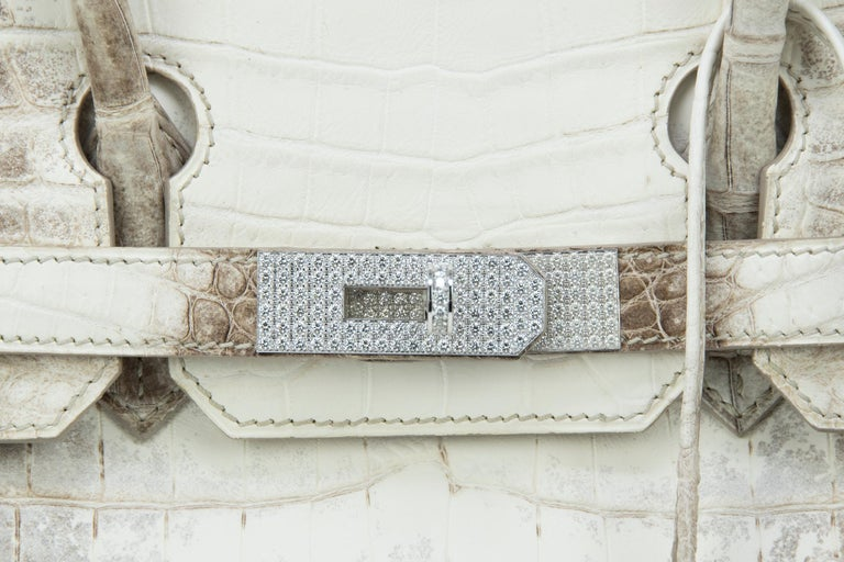 Hermès Birkin Bag 30cm Himalayan Diamond Encrusted  & Matching Kelly GM Bracelet For Sale 6