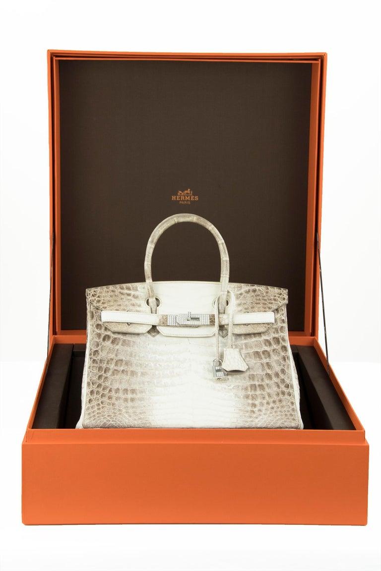 Hermès Birkin Bag 30cm Himalayan Diamond Encrusted  & Matching Kelly GM Bracelet For Sale 3