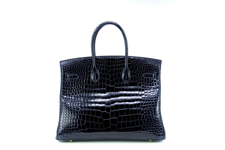 5e700b998ffd Blue Marine crocodile porosus Hermes 35 Birkin with gold hardware.  Extremely rare color that Hermes