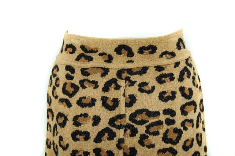 Brown Alaia Vintage Leopard Pencil Skirt 1991 - Size S For Sale