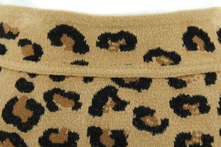 Alaia Vintage Leopard Pencil Skirt 1991 - Size S In Excellent Condition For Sale In Newport, RI