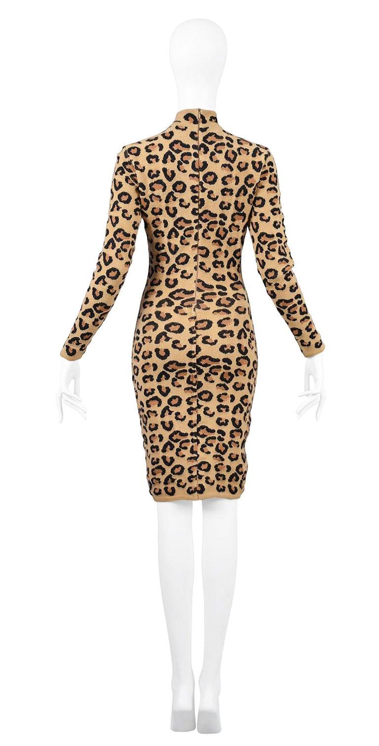 Brown Alaia Vintage Leopard V Neck Dress with Band 1991 - Size S For Sale