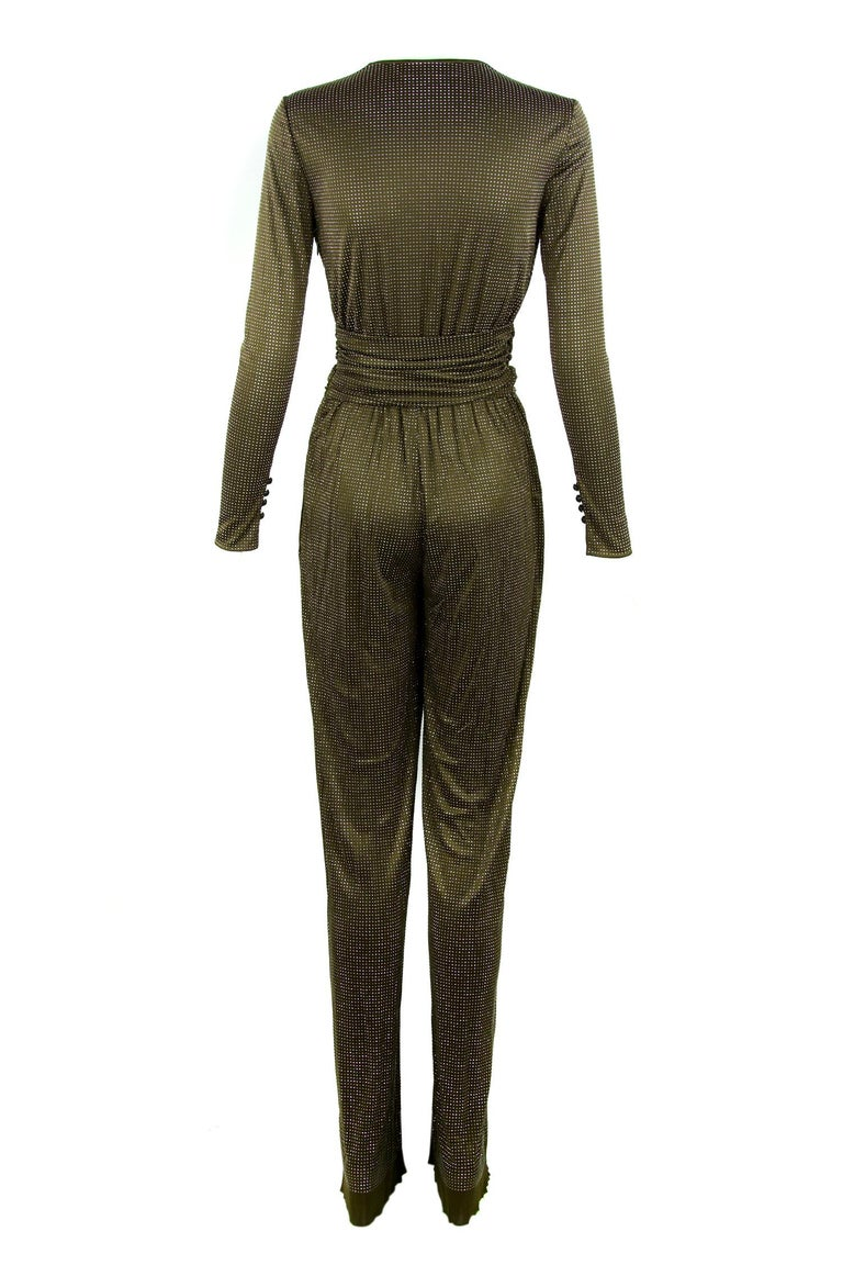 Black Pucci Brown & Silver Beaded Jumpsuit - Size IT 44 For Sale