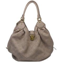 Louis Vuitton Mahina Taupe Grey Leather Hobo Handbag