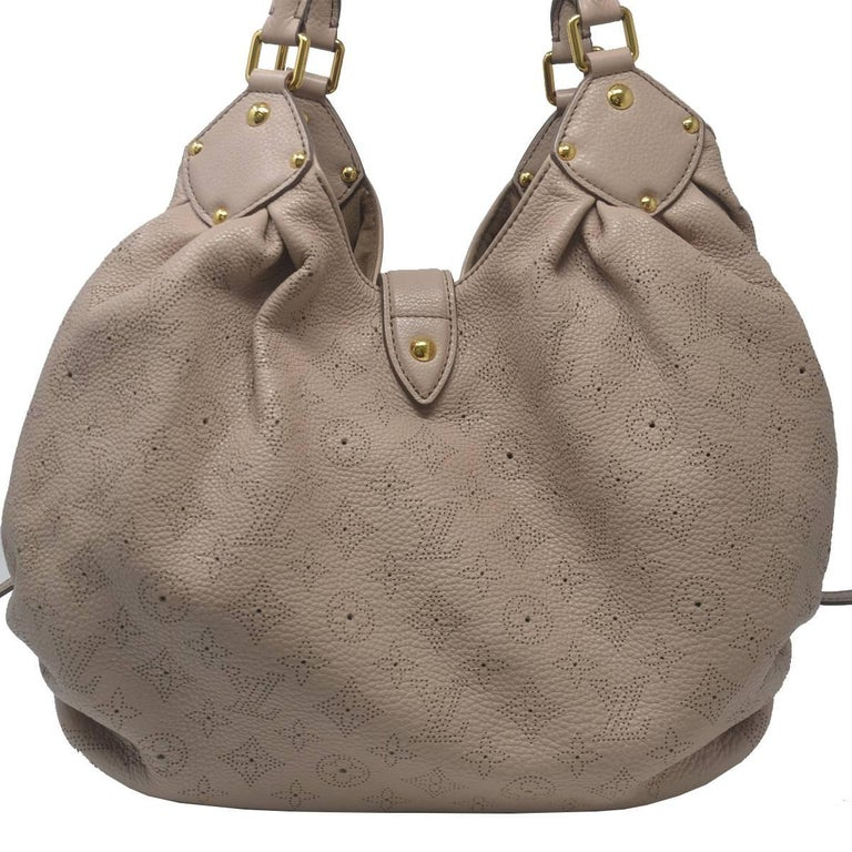 Gray Louis Vuitton Mahina Taupe Grey Leather Hobo Handbag For