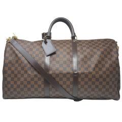 Louis Vuitton Keepall 55 Damier Ebene Bandouliere Duffle Bag