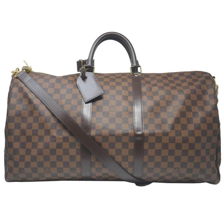 bbe02f68080b Louis Vuitton Keepall 55 Damier Ebene Bandouliere Duffle Bag For Sale