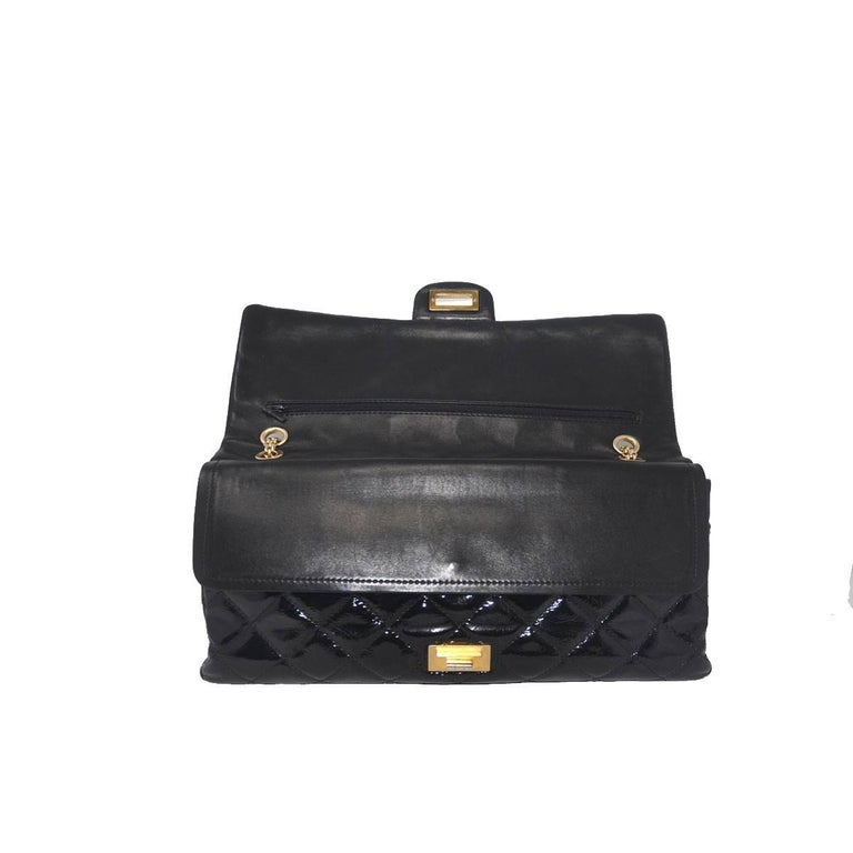 Chanel Re-Issue Black Patent Leather Handbag For Sale 2