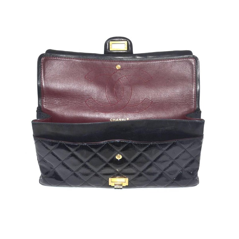 Chanel Re-Issue Black Patent Leather Handbag For Sale 4
