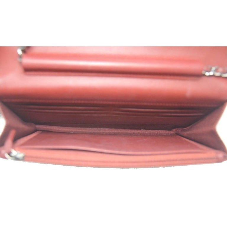 Chanel Dark Red Patent Leather WOC With Card For Sale 3