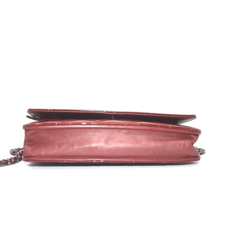 Chanel Dark Red Patent Leather WOC With Card For Sale 1
