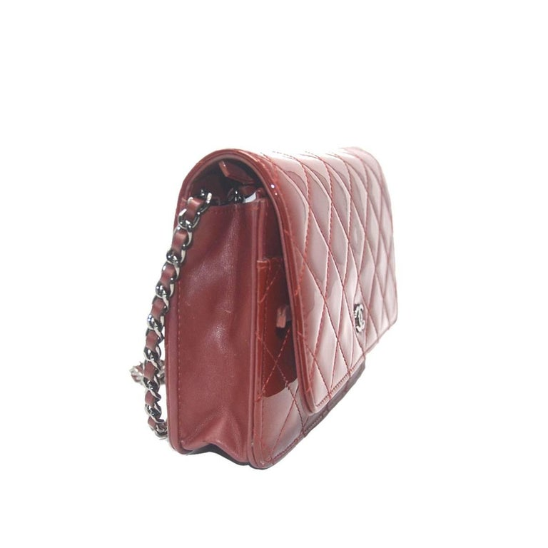 Brown Chanel Dark Red Patent Leather WOC With Card For Sale