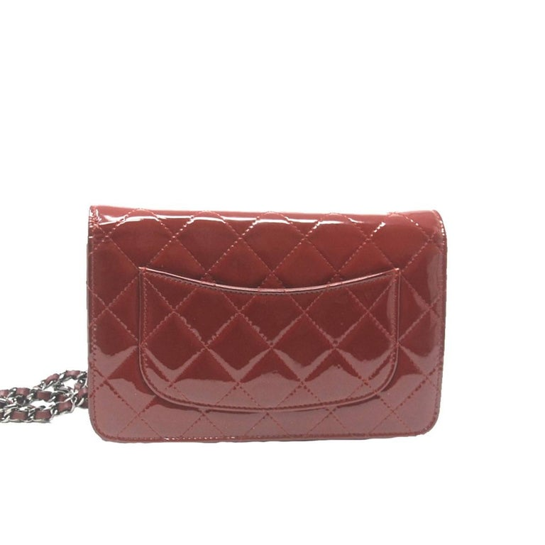 Chanel Dark Red Patent Leather WOC With Card In Excellent Condition For Sale In Boca Raton, FL