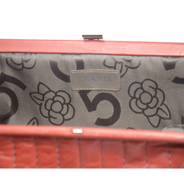 Chanel Red/Pink Small Clutch Handbag For Sale 4