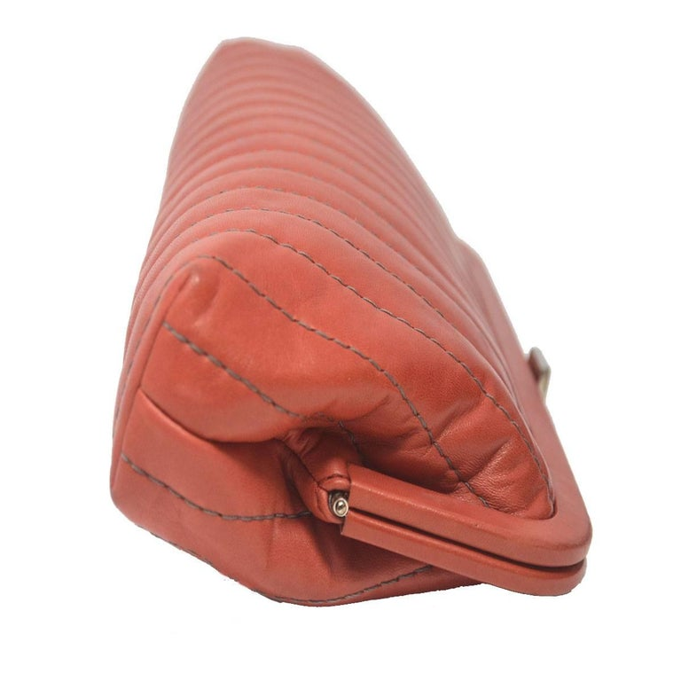Chanel Red/Pink Small Clutch Handbag In Good Condition For Sale In Boca Raton, FL