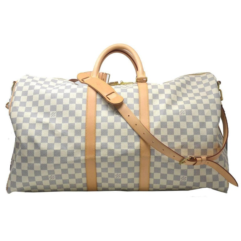 29cc91b7421a Louis Vuitton Keepall BANDOULIÈRE 55 Damier Azur at 1stdibs