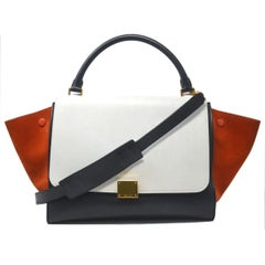 Celine Trapeze Medium Tri-Color Suede and Leather Handbag